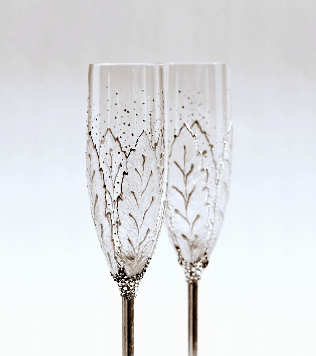 Champagne Hand Painted  Flutes Silver Shine Wedding Toasting  Set of 2 MADE to ORDER - NevenaArtGlass