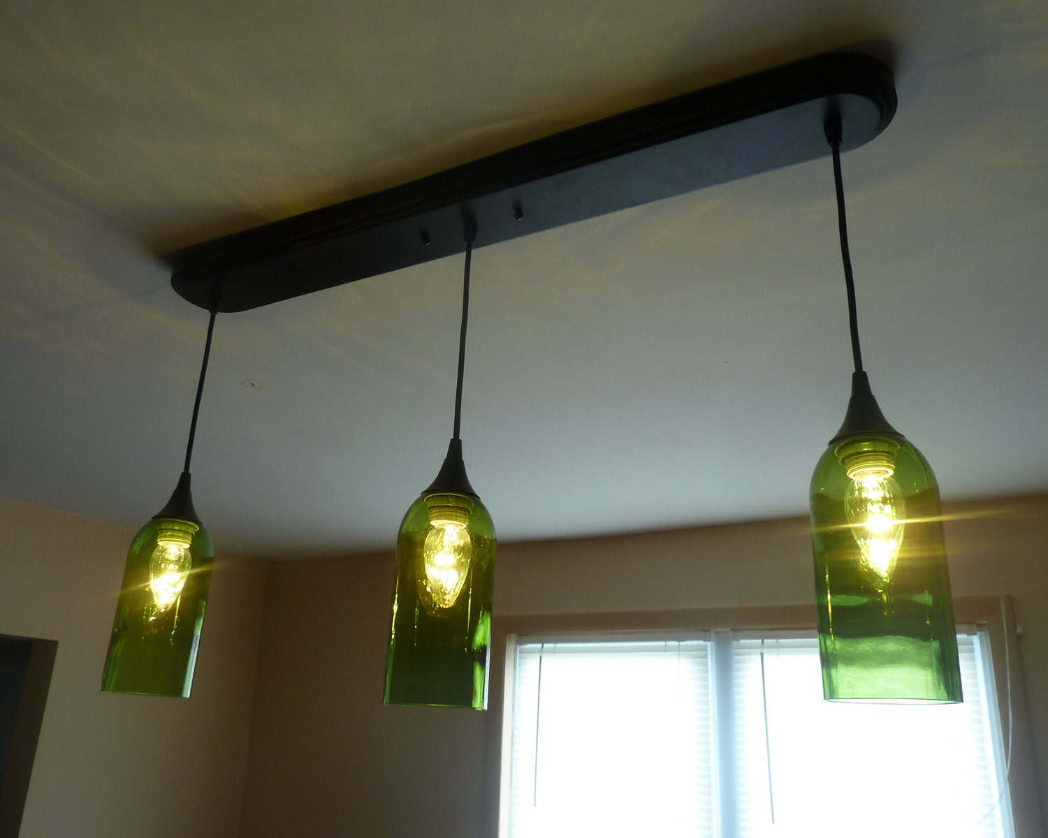 Green wine bottle 3 pendant light billiards table kitchen by pic76 - Wine bottle pendant light ...