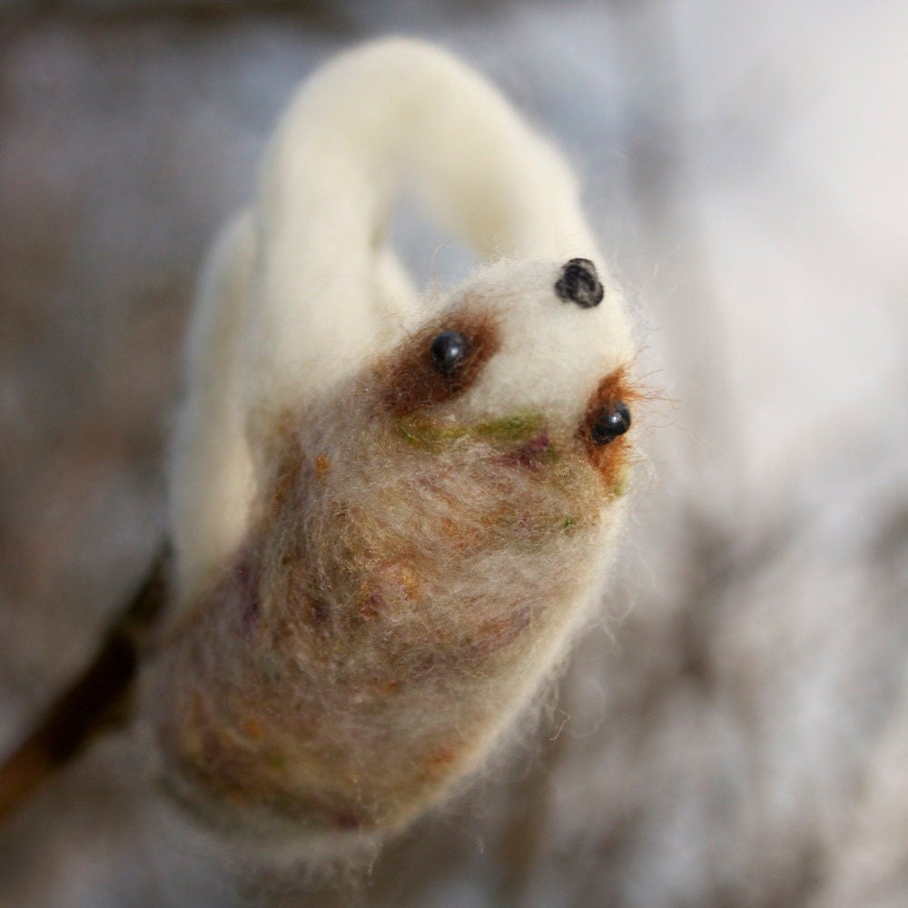 Super Cute Sloth Needle Felted Ornament White Mossy Sloths Decoration Gift