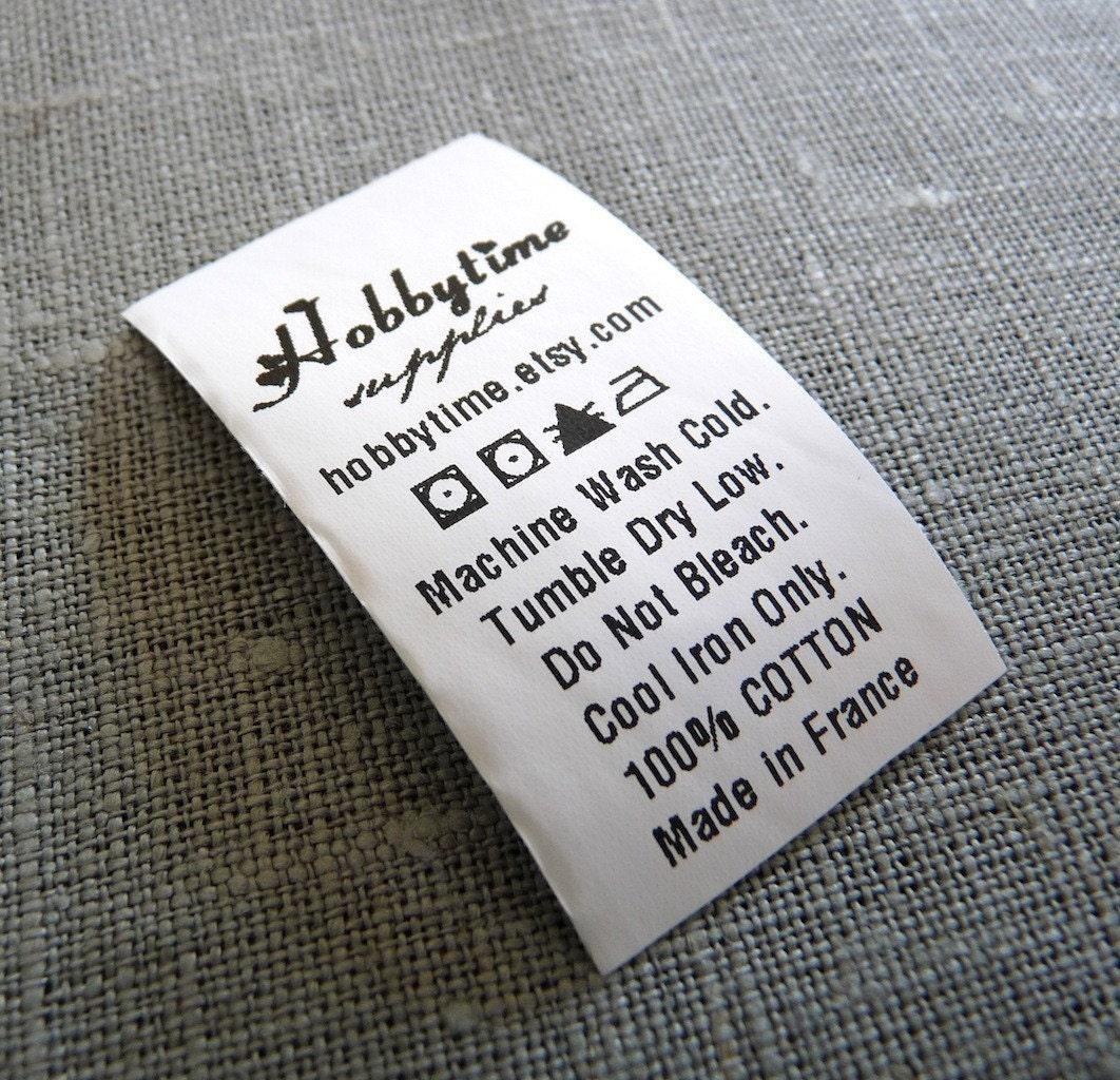 300 Custom CARE LABEL Black Printed on white Polyester by ikaprint