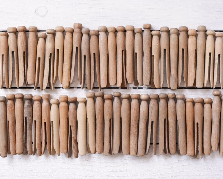 Vintage Wooden Clothespins, Rustic, Weathered and Worn - Lot of 50 - smilemercantile