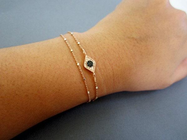 evil eye bracelet layered bracelet rose gold satellite by. Black Bedroom Furniture Sets. Home Design Ideas