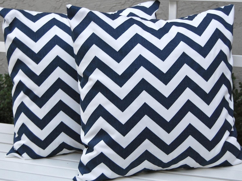 Chevron Throw Pillows Navy Blue Decorative by FestiveHomeDecor