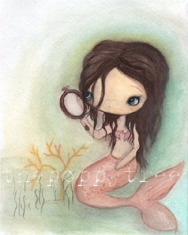 Mermaid Print--- Mermaid In The Mirror 5 x 7