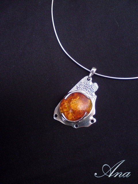 Baltic Sun - sterling silver pendant with Baltic amber, amber sterling silver, Baltic amber pendant, amber pendant, amber and silver