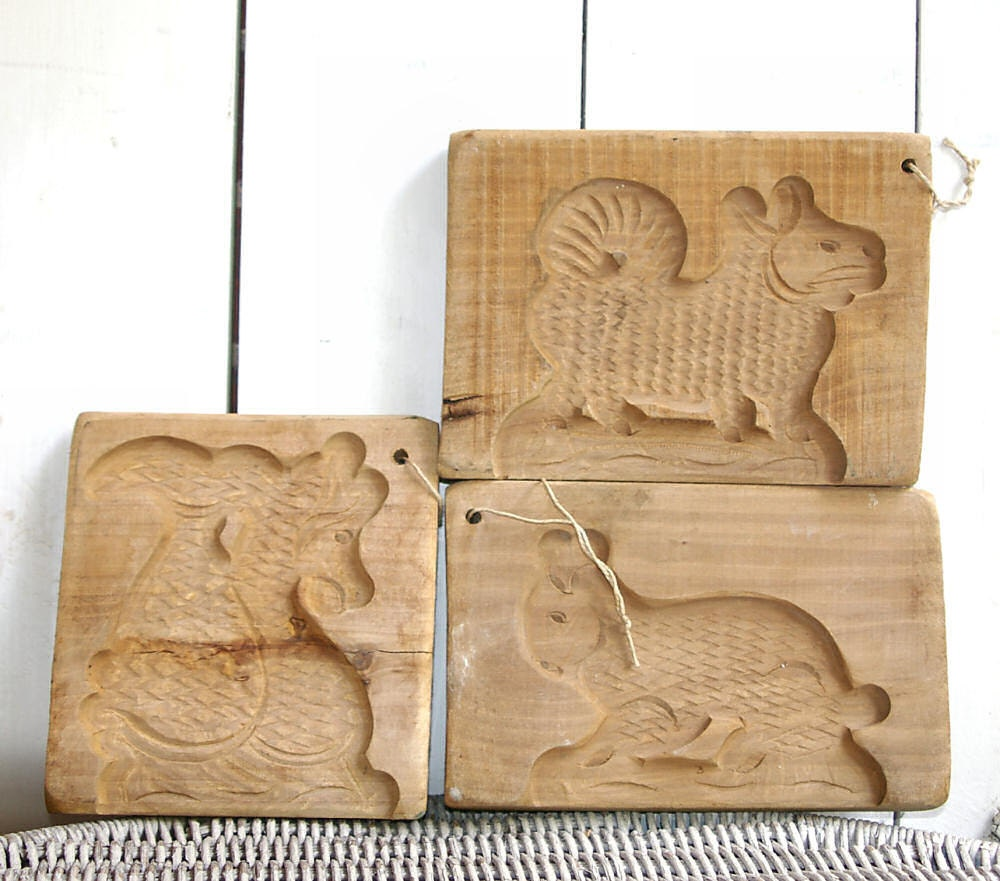 3 Antique PA Dutch Hand Carved Wood Butter Mold Wooden Butter Mold Woodland Animal Antique Butter Mold Butter Mould Farm Kitchen Decor - KickassStyle