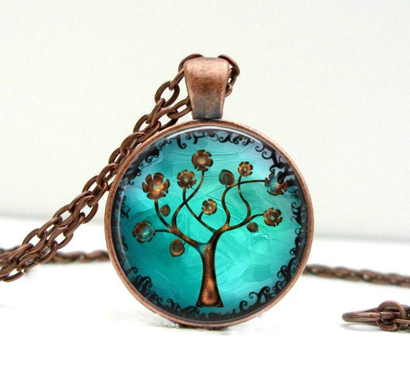 Copper Tree Necklace Glass Picture Pendant Photo Pendant