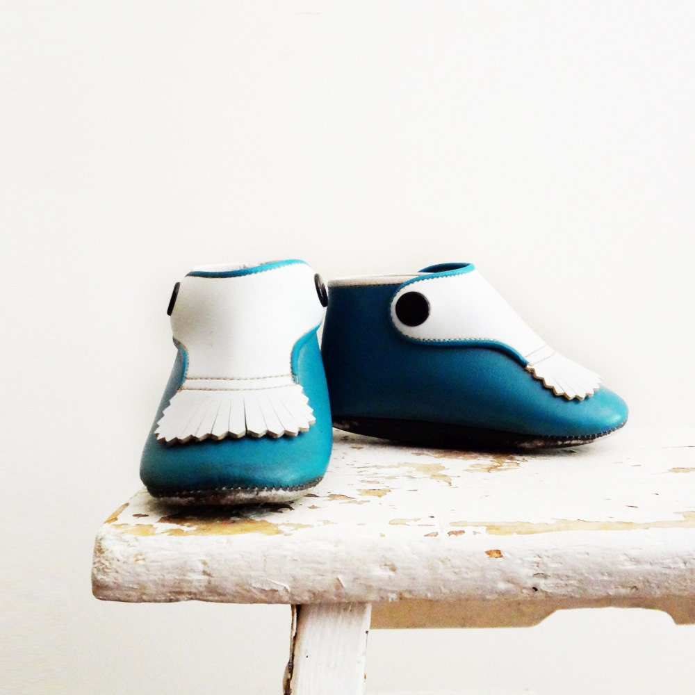Vintage Baby Shoes, Teal Turquoise Moccasins