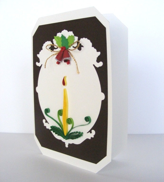 Quilling Christmas Card, Candle and Bells Christmas Card - RollingIdeas