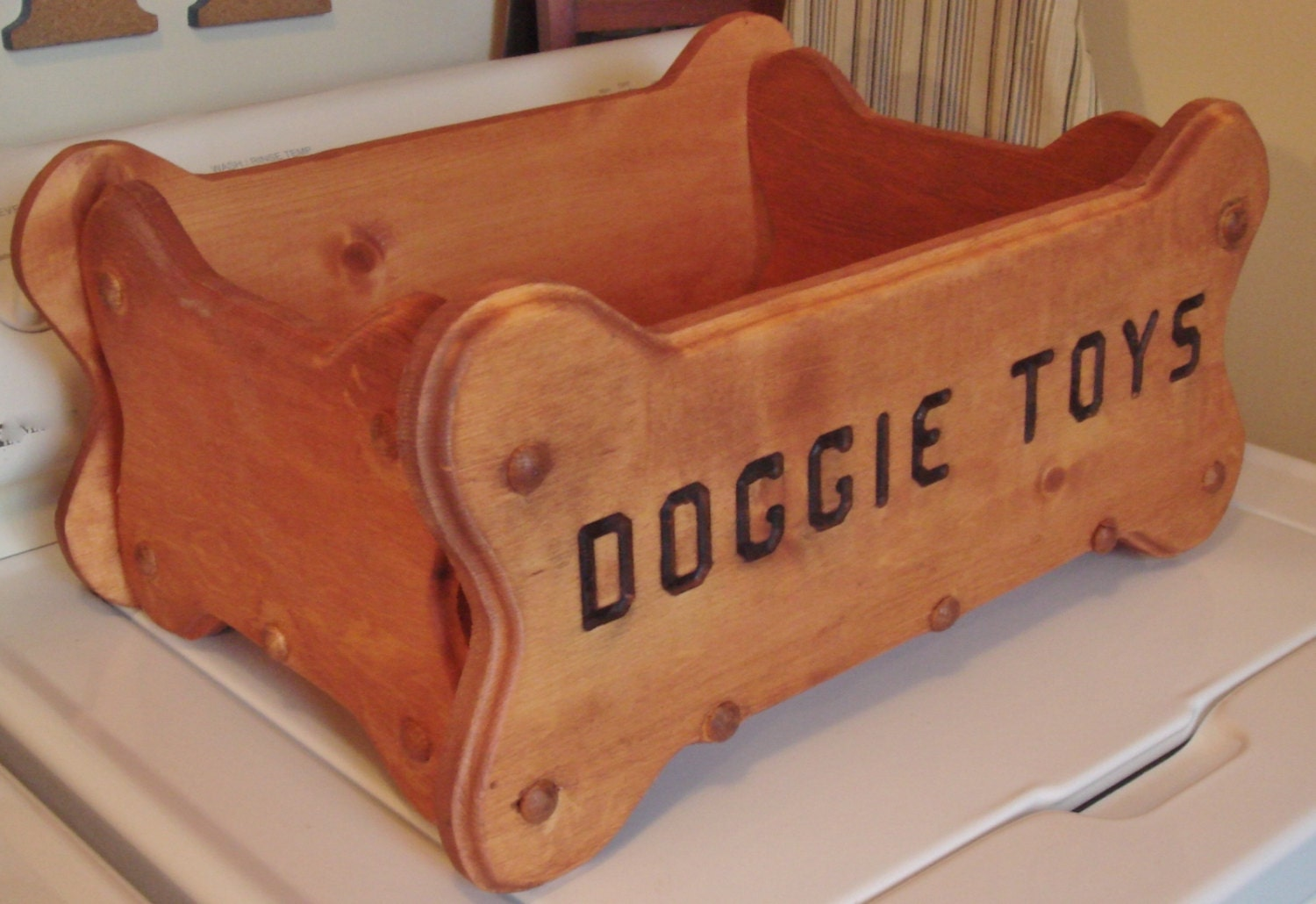 Dog Toy Box, Personalized Dog Toy Box, Wood Toy Box For Dogs, Bone ...