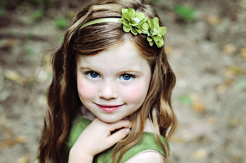 Green Headband--Woodland Nymph Headband or Clip--Flower Girls--Bridesm