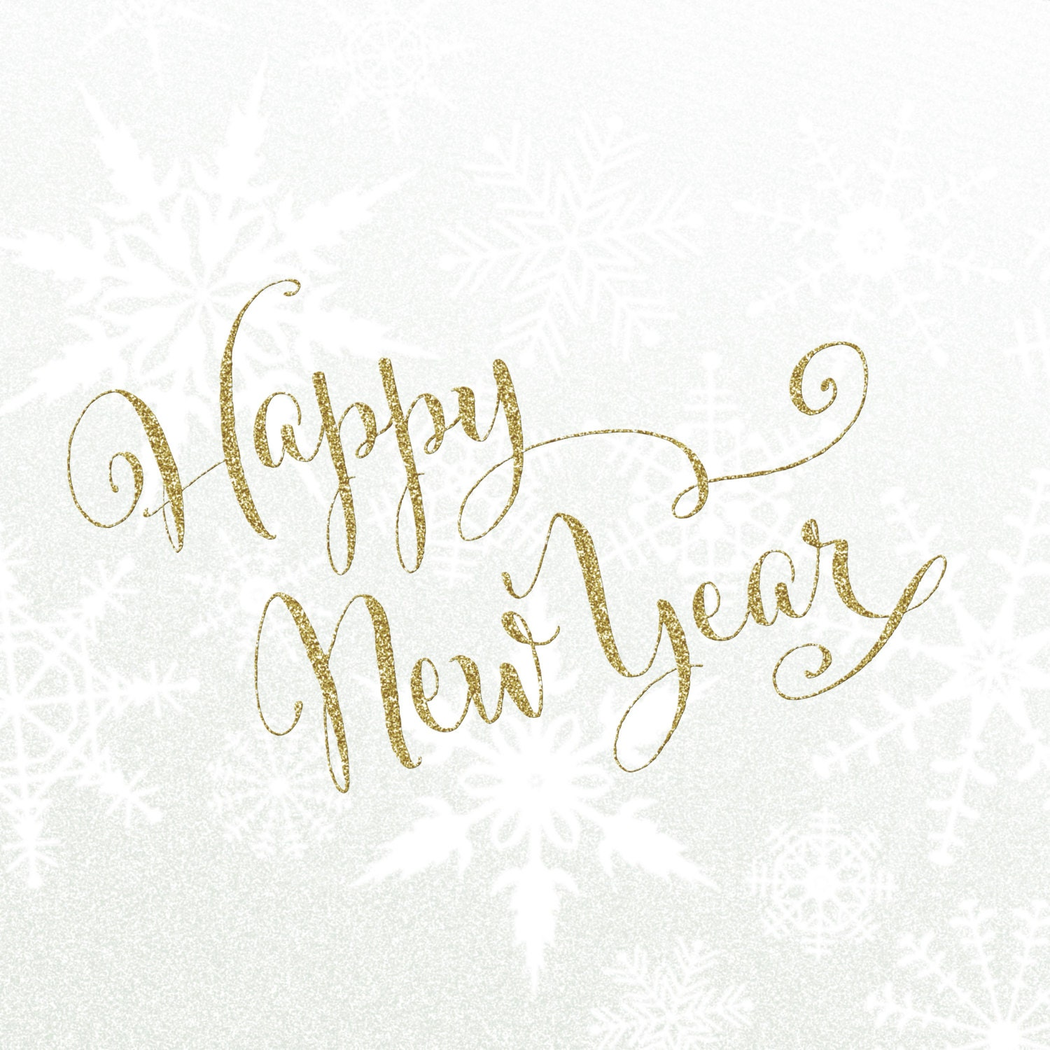Happy New Year Gold Glitter Script - Digital Download Printable