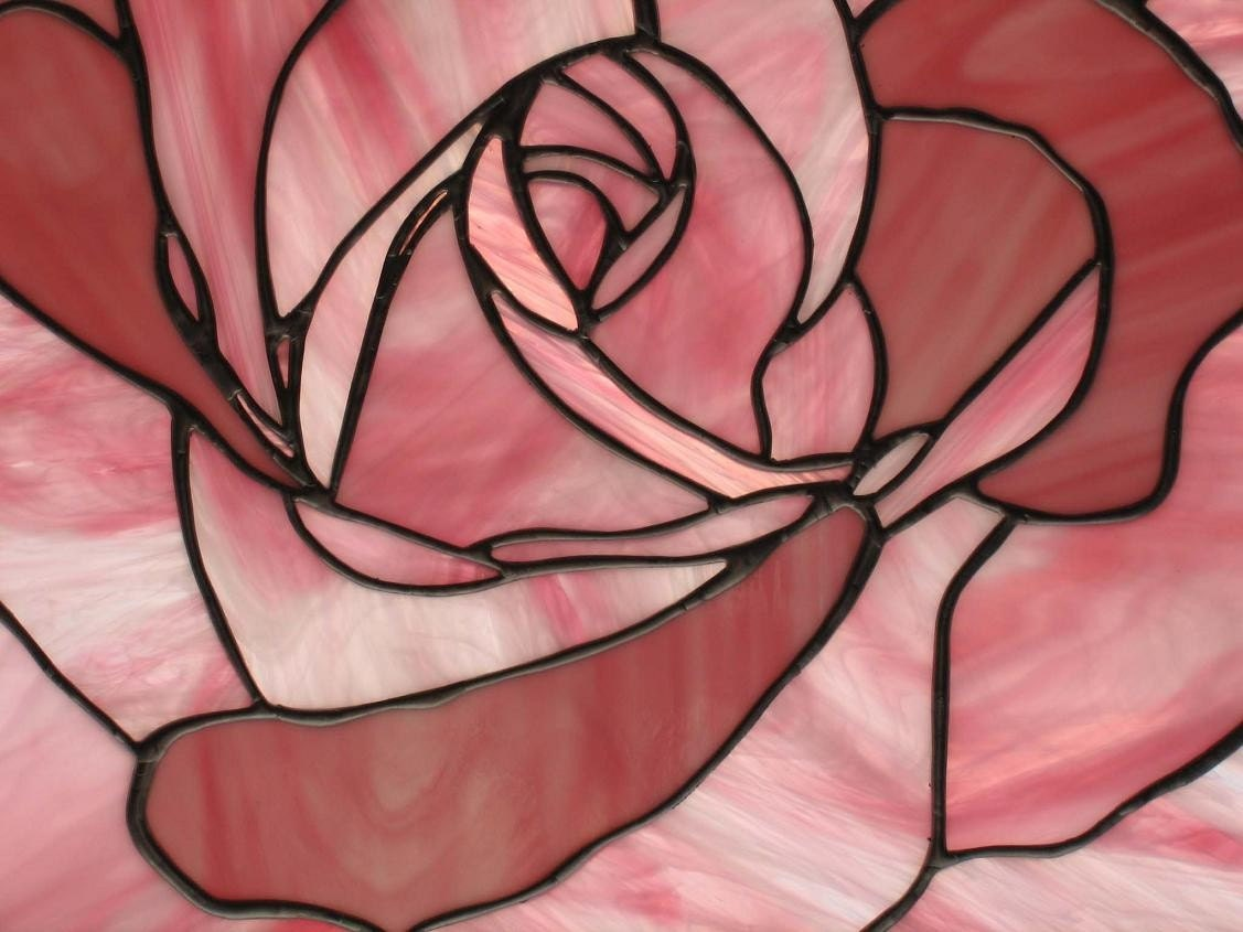 Pink Rose Stained Glass Panel - Nanantz