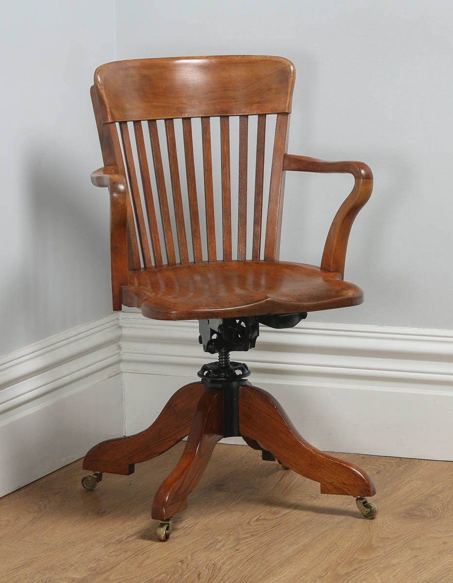 Antique Edwardian Oak  Birch Revolving Swivel Captains Office Desk Armchair (Circa 1900)
