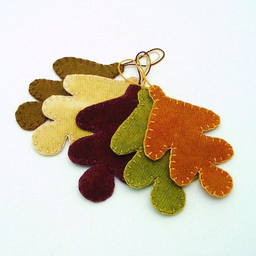 Wool Oak Leaf  Fall or Thanksgiving Ornaments - Set of 5