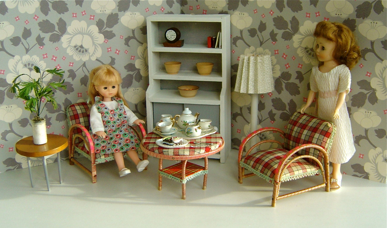 Pink and Grey Flowered ART DECO LivingSitting Room for 810 dolls Betsy McCall Bjds Ginny Jill Riley Kish Sindy Skipper Toni