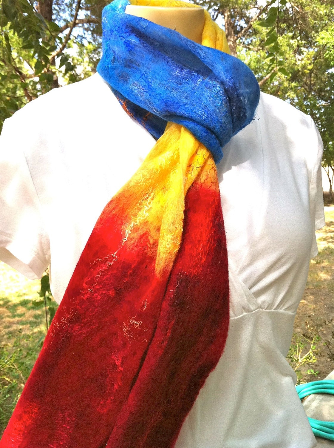 Primary Colors Felted Scarf