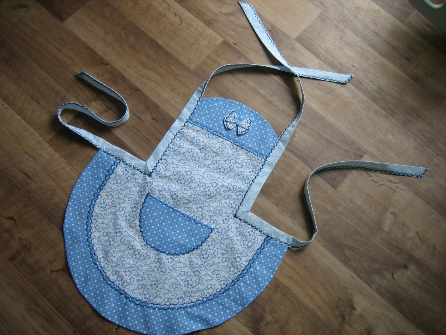 Apron with bow in cornflower blue and white Girls apron Greek Summer Collection