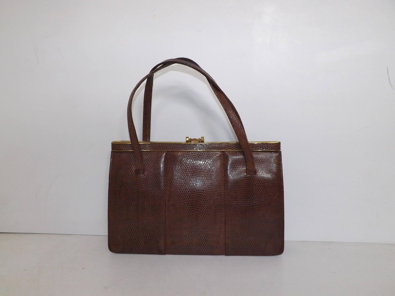 Vintage large real lizard skin leather kelly handbag grab bag suede lined