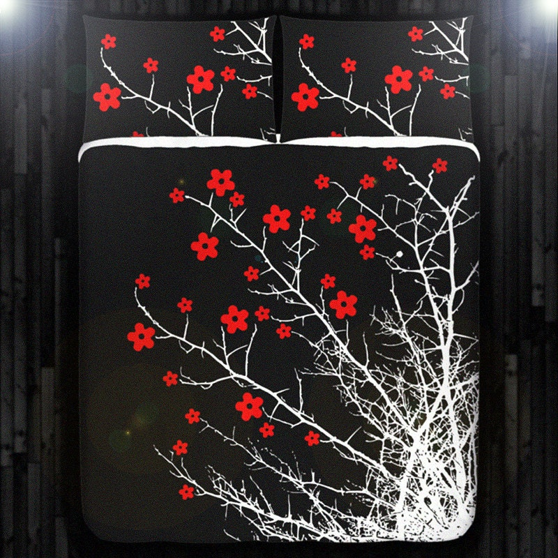 Red Cherry Blossom Tree Duvet Cover Bedding Queen By