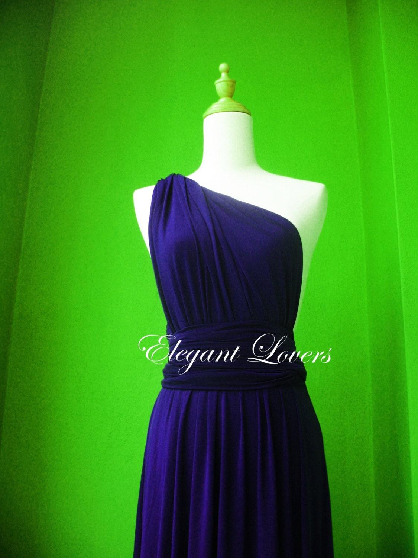 Navy blue wedding dress bridesmaid dress infinity dress wrap dress