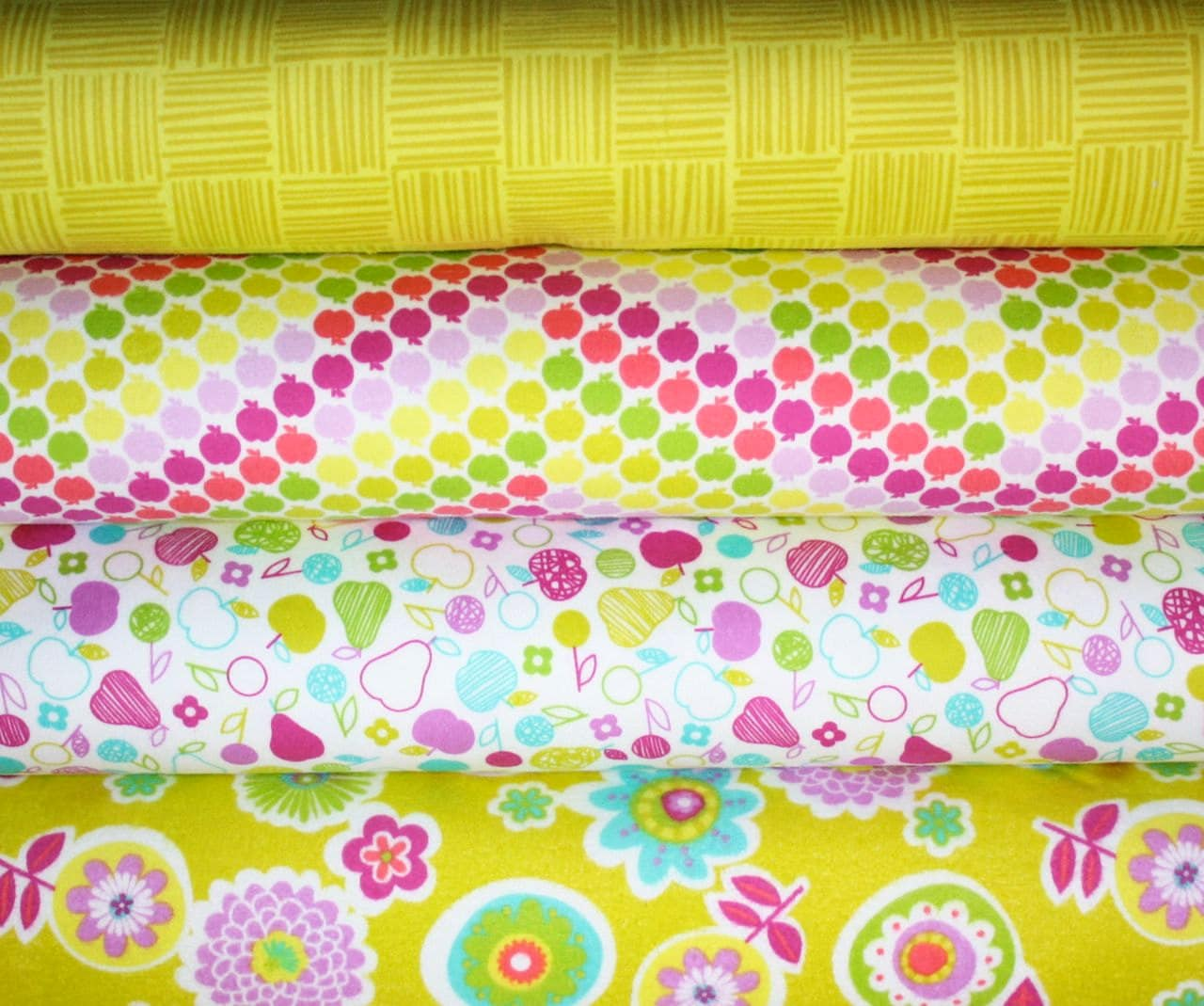 Flannel Greenhouse fabric by Erin McMorris for Free spirit, Fat Quarter Bundle- 4 total
