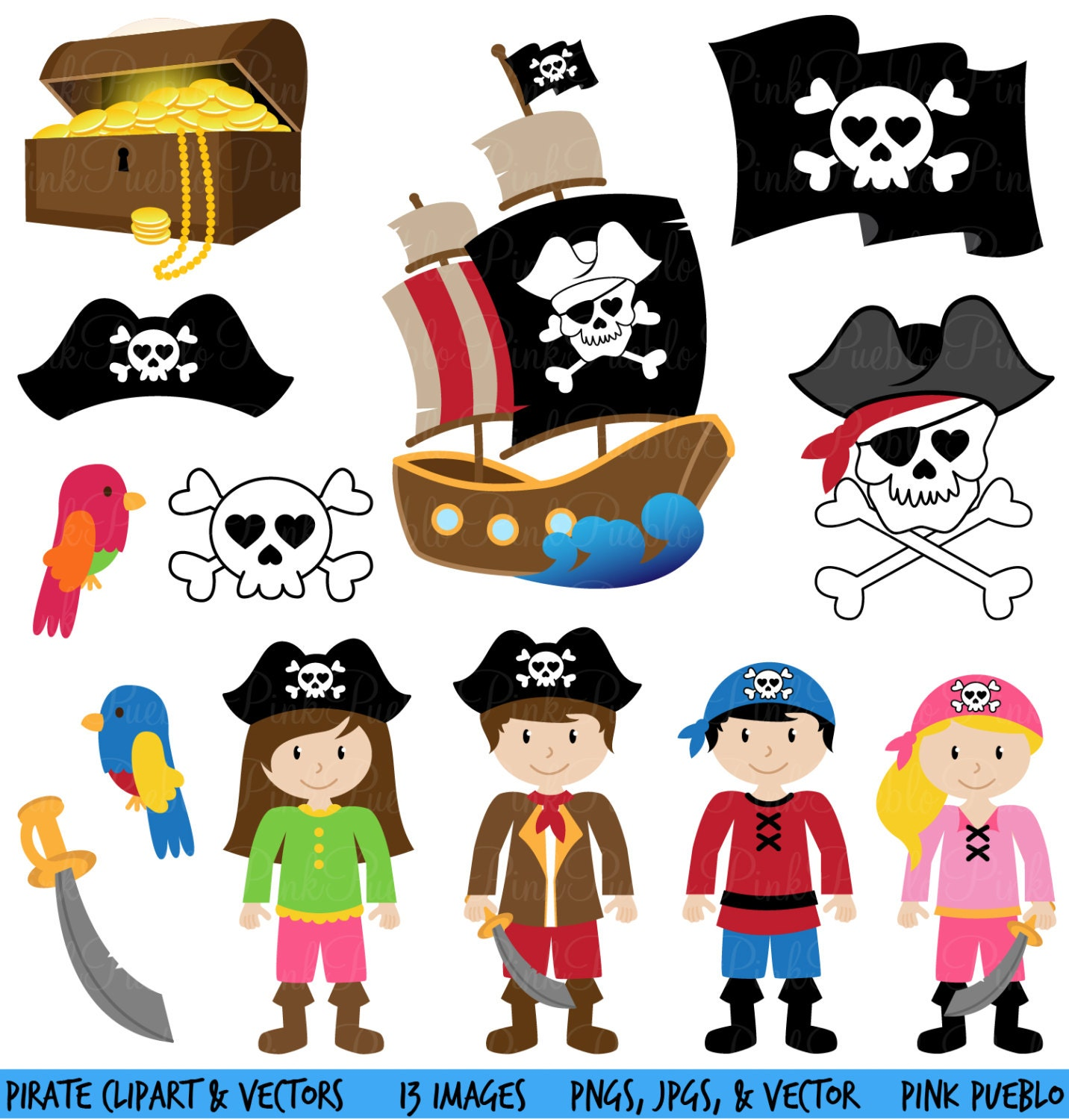 Pirate Clipart Clip Art and Vectors Commercial and by PinkPueblo: www.etsy.com/listing/97463650/pirate-clipart-clip-art-and-vectors