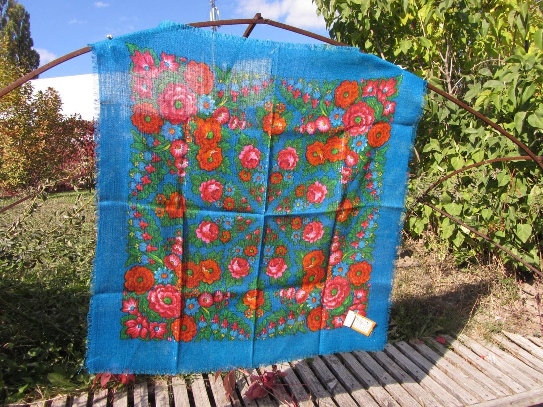 Azerbaijan Vintage Blue Floral Wool Shawl, Azerbaijan Floral Blue Scarf, russian