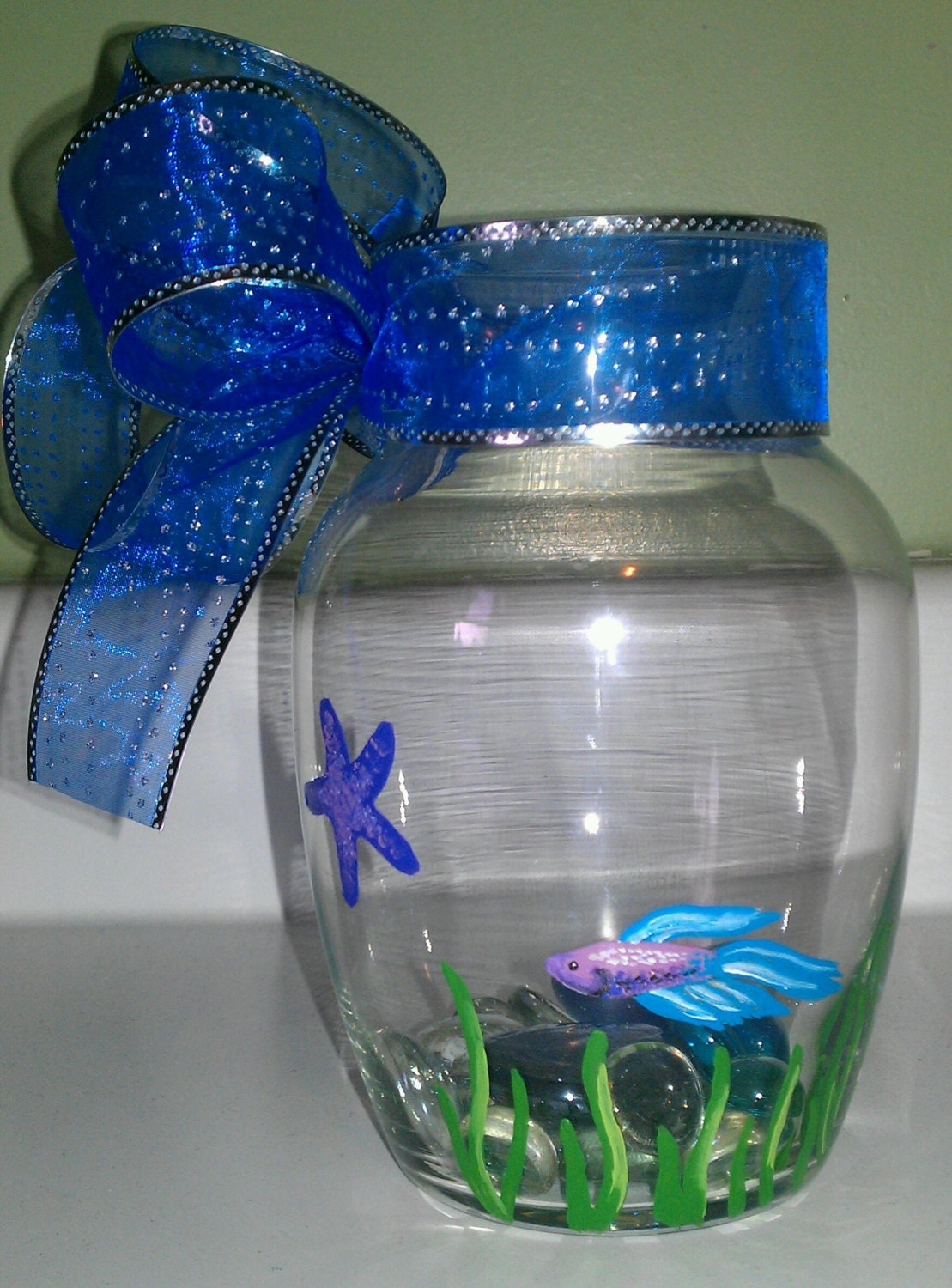 Hand painted betta fish bowl vase by paintedparrot on etsy for Betta fish vase
