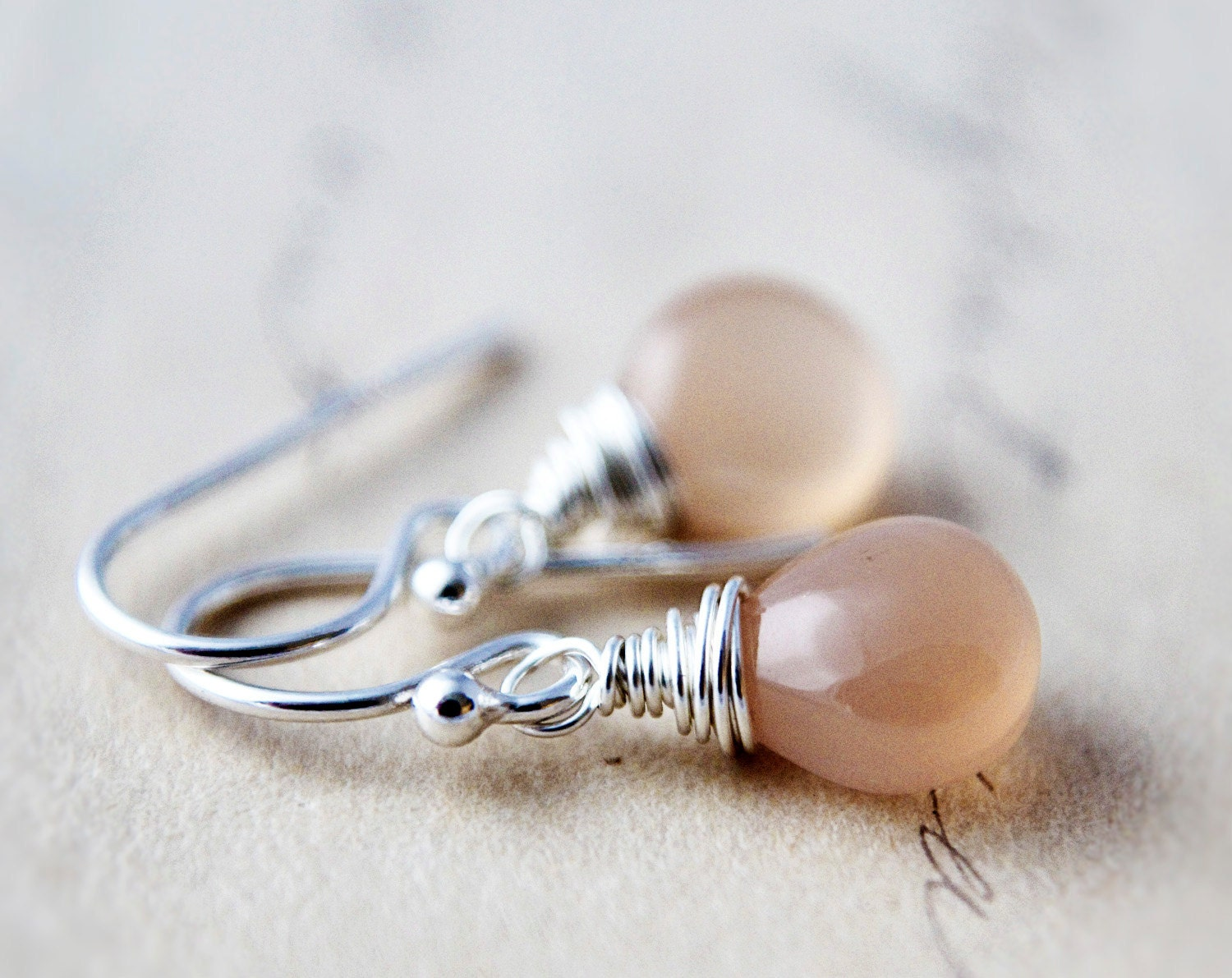 Apricot Drop Earrings Silver Peach Moonstone Dangle - PoleStar