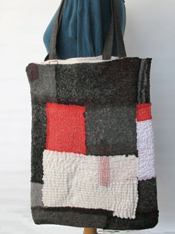 nuno felted chic tote bag black white grey red color block - FREE INTERNATIONAL SHIPPING - - gaiagirard