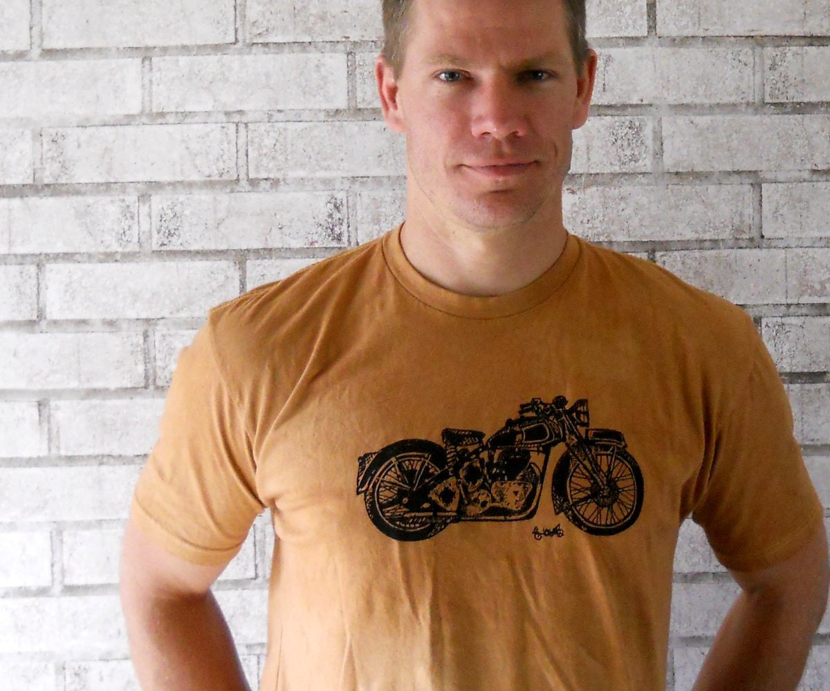 Men, Tshirt, Motorcycle Tshirt, Mens cotton crew neck, dyed rust orange or custom colors - CausticThreads
