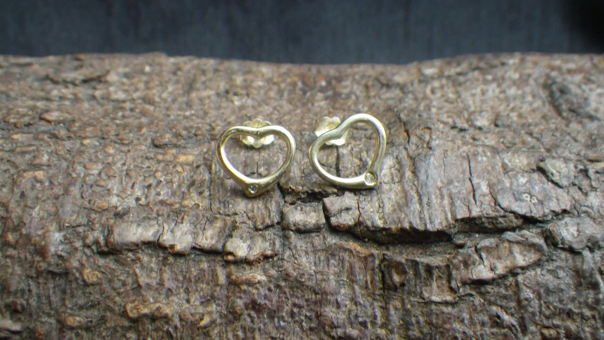 Vintage Silver Gilt Heart Diamond Stud Earrings