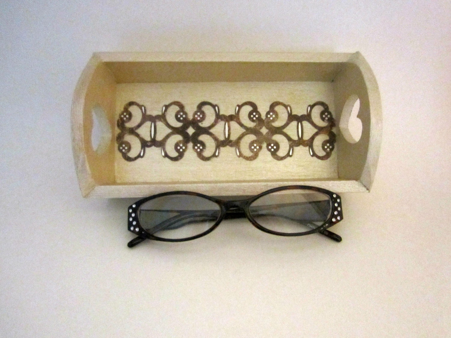 Eyeglasses Holder, Jewelry Tray, Ring Holder, Champagne Brown Silver, Wooden Tray, Desk Accessory - JustAddJewelry