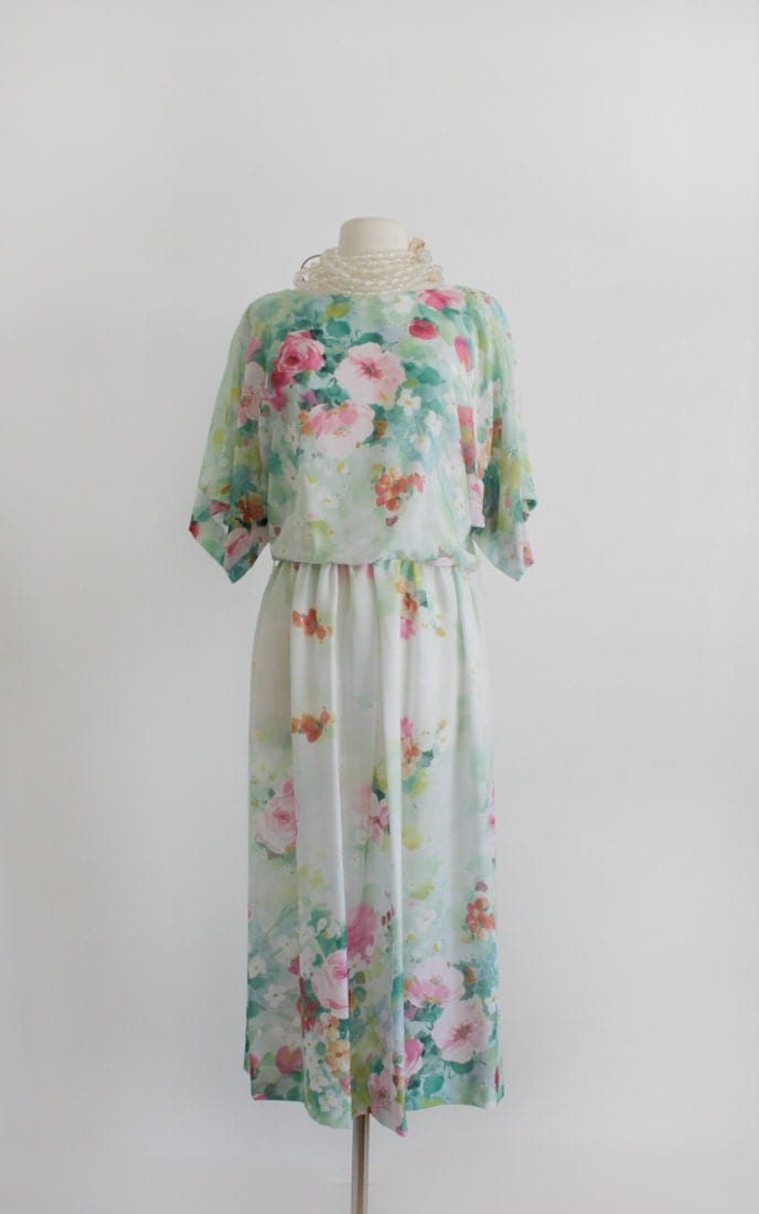 Reserved Vintage Pretty Floral Dress Garden By