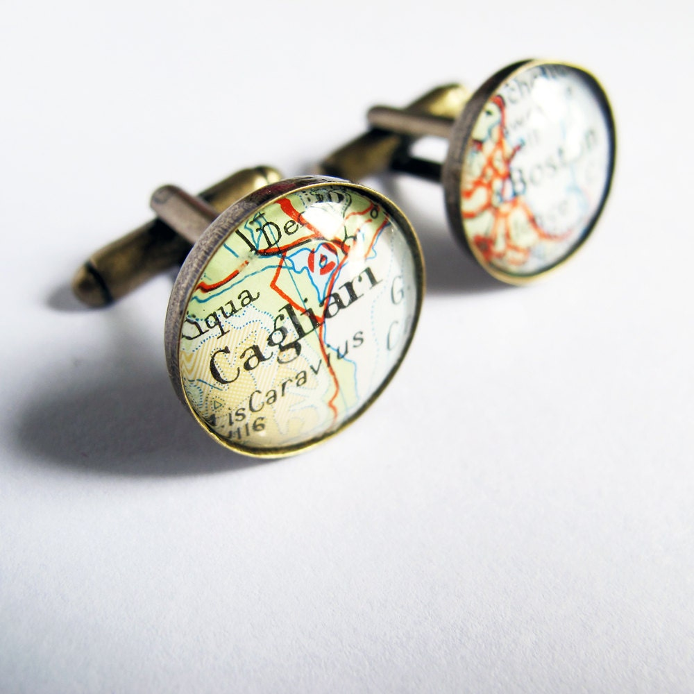 Map Cufflinks, Personalized Cuff Links Using Vintage and Modern Maps for Weddings / Groom / Groomsmen / Special Occasions, Custom Cufflinks