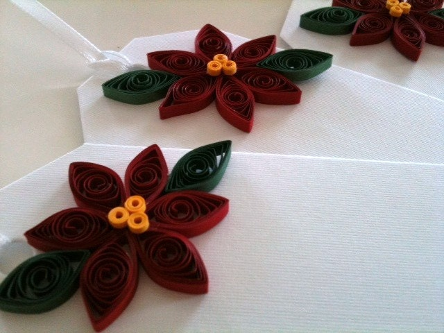 Poinsettia Gift Tags for Christmas in Crimson Red