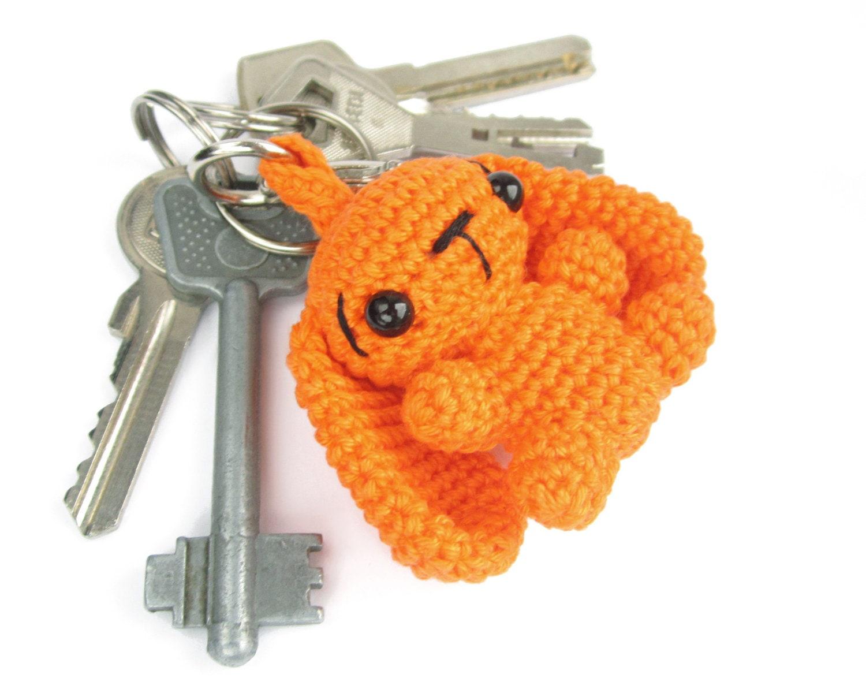 Amigurumi Bunny Keychain : Keychain Bunny Black with silver eyes by SIDRUNsZoo on Etsy