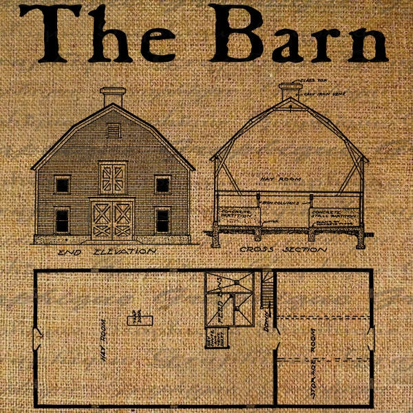Burlap Digital Download The Old Barn Plans Farm By Graphique