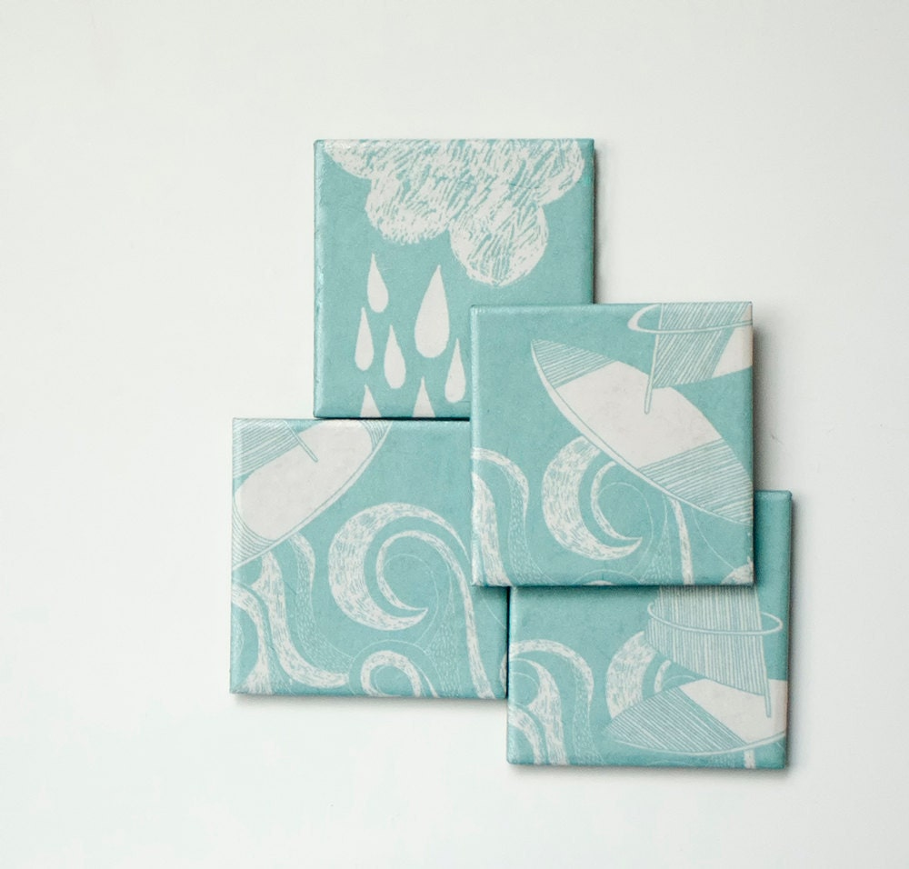 Ceramic coasters, Aqua, set of 4 - mayagencic