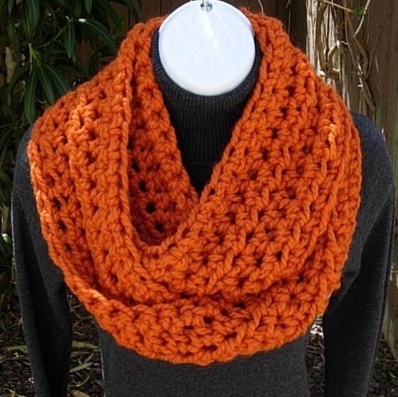 INFINITY SCARF Bulky - Soft - Warm - Pumpkin Orange- Lamb's Wool ...