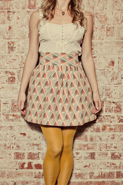 Alisier Skirt - White Fabric with Red and Blue Mod Design - Made to Order