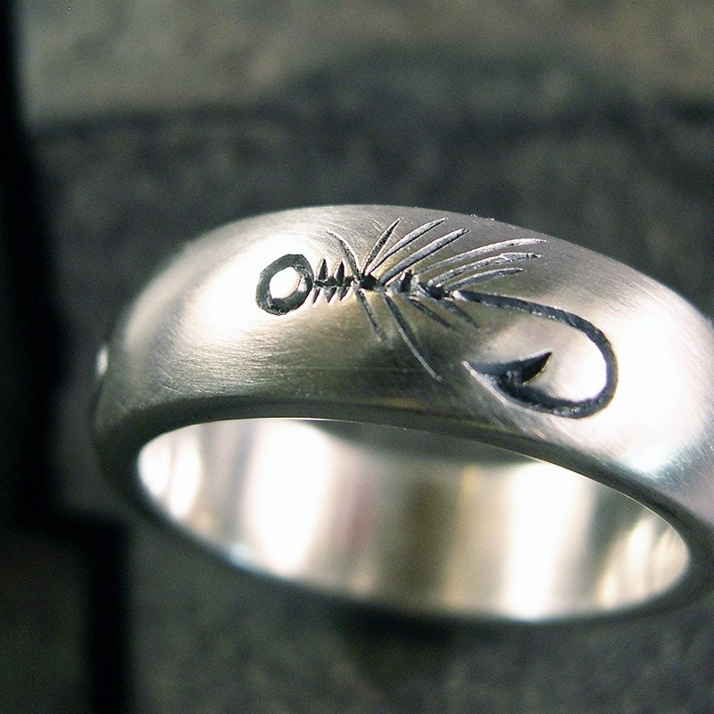 fly fishing ring wedding band nature ring by