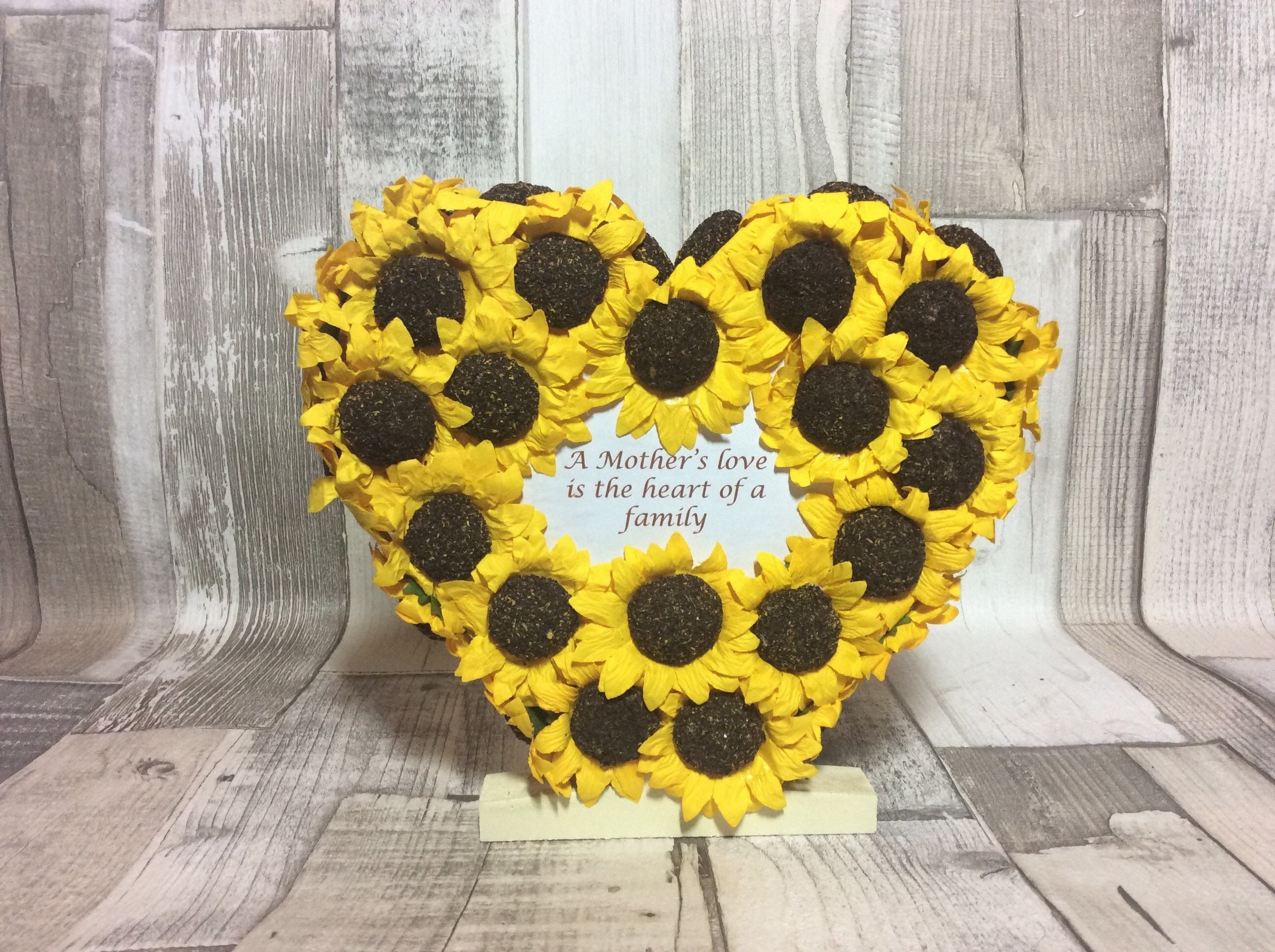 Image of Floral heart, free standing, mum, double sided, Mothers Day, unique gift, flowers, gift for mum, sunflowers, paper flowers, wooden heart