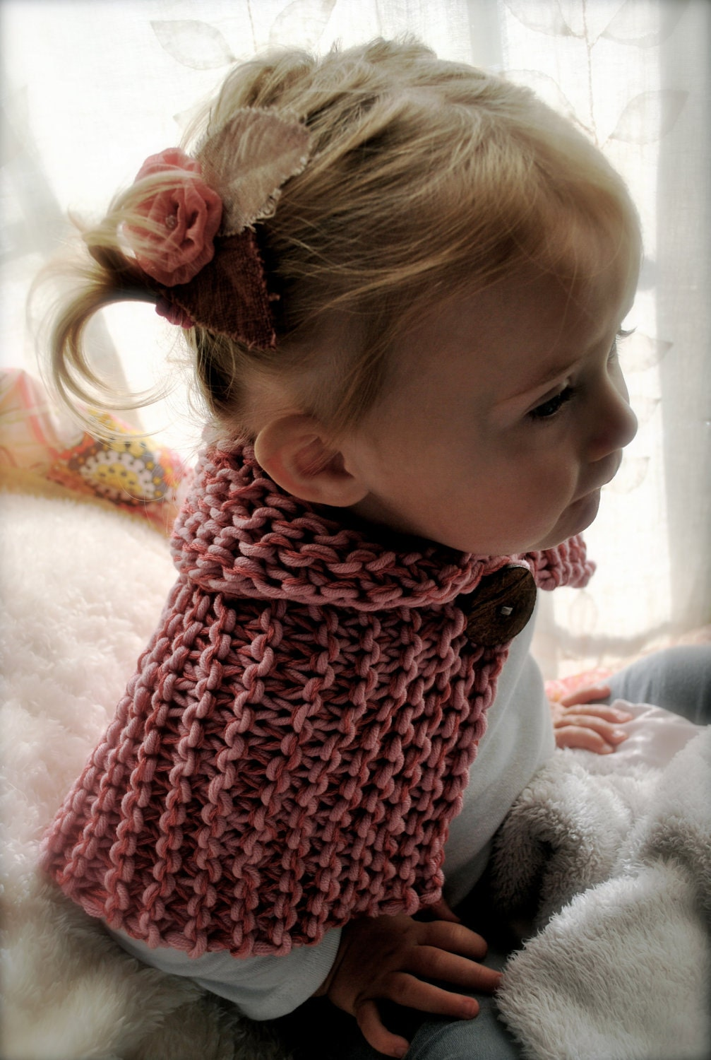 "Baby Shawl, Toddler cape, ""Winter Woods"", Pink Rose Childs Toddler Scarflette Cowl Shawl Cape Organic Cotton double knit"
