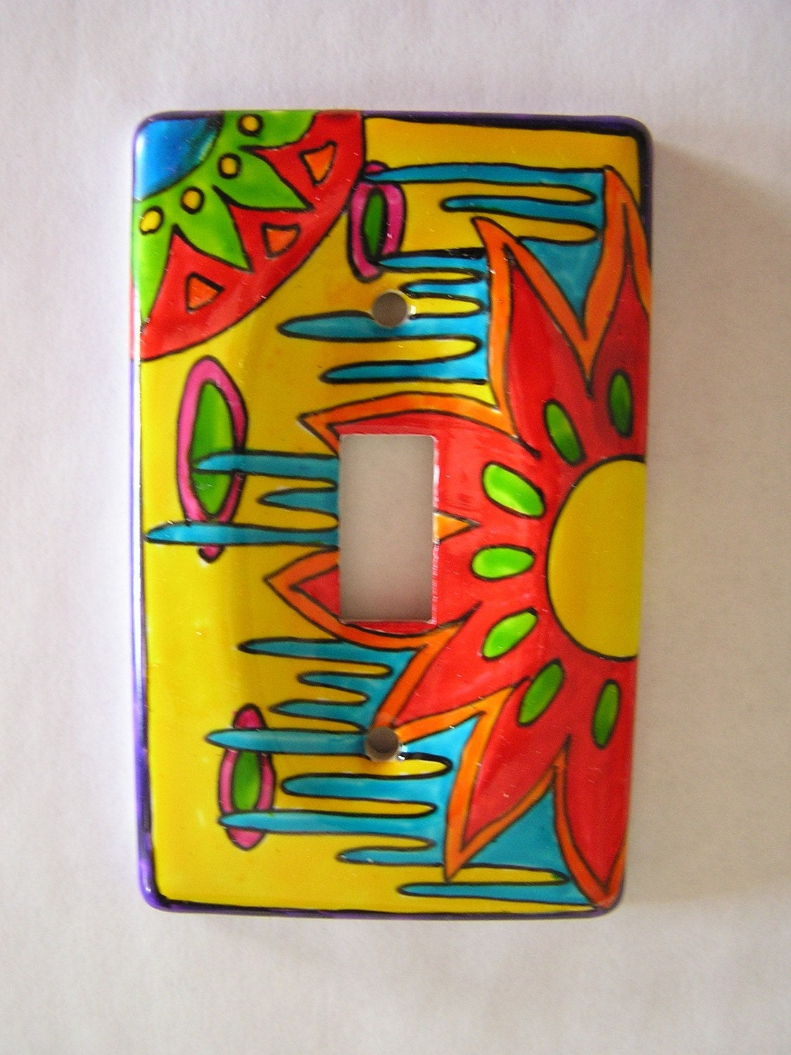 Color Wow Hand Painted Single Light Switch By Artoutofhermind
