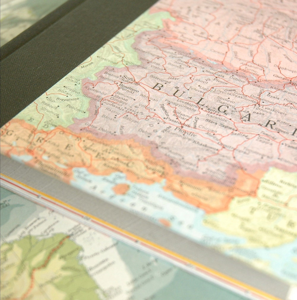 Custom travel journal - vintage map-covered handbound book - IndigoInkSpot