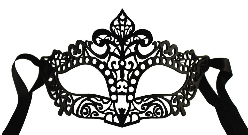 Filigree Black Leather Mask - Halloween mask or venetian masked ball - Laserbean