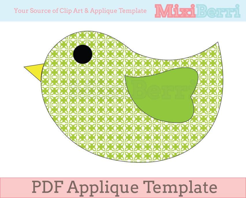 Cute bird applique template pdf instant download by mixiberri - Vorlage vogel ...