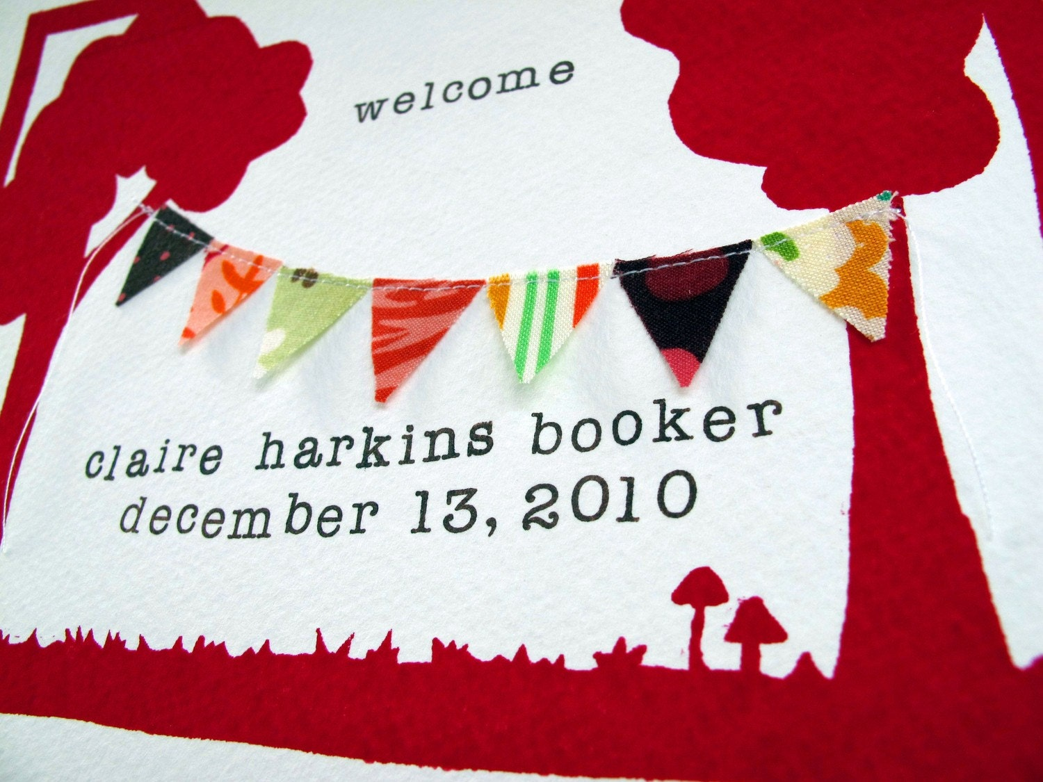 welcome - new baby custom print - magenta and brown